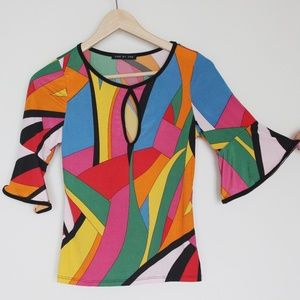 Dolls Kill psychedelic keyhole bell sleeve top M